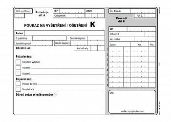 Poukaz na vyšetření/ošetření K - volný list do tiskárny